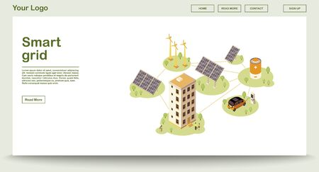 Electric charge station webpage vector template with isometric illustration. Smart grid. Solar, wind energy supply. Renewable power production