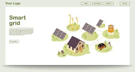 Eco energy webpage vector template with isometric illustration. Smart grid. Solar, wind renewable power. Alternative home energy source