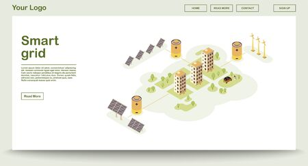 Eco power webpage vector template with isometric illustration. Smart grid. Solar, wind electricity. Renewable energy source. Eco buildings