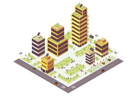 Eco city isometric color vector illustration. Green buildings. Smart city infographic. Renewable energy 3d concept. Eco friendly environment. Zero waste urban ecosystem Illustration