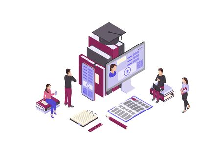 Online education isometric color vector illustration. Internet, distance learning infographic. Video tutorial, e course, e class. Mobile education, e learning 일러스트