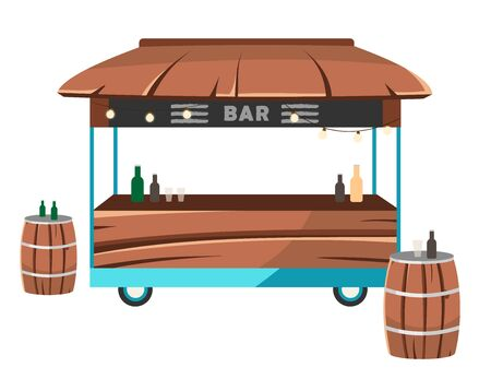 Bar food truck flat vector illustration. Cocktail lounge food court. Saloon service on wheels. Drinkery car. Alcohol selling trailer, barrels tables isolated on white background Illustration