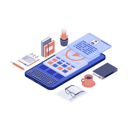 Mobile marketing content & copywriting isometric vector illustration. SMM, advertising creation 3d concept. Copywriter, editor, content writer workspace, workplace. Freelance, remote job Illustration