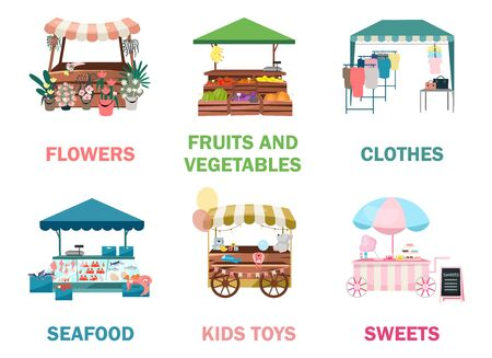 Street market stalls flat vector illustrations set. Fair, funfair trade tents, outdoor kiosks and carts, trolleys. Urban festival shopping places cartoon concepts. Summer market counters for goods