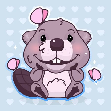 Cute beaver kawaii cartoon vector character. Adorable, happy and funny animal with butterflies isolated sticker, patch, kids book illustration. Anime baby beaver emoji on blue background
