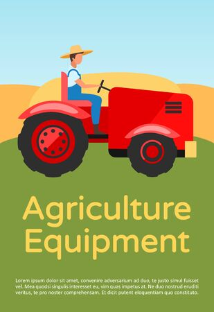 Agriculture equipment brochure template. Farming machinery, tractor. Flyer, booklet, leaflet concept with flat illustrations. Vector page layout for magazine. Advertising invitation with text space