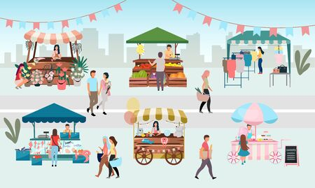 Ilustración de vector plano de feria callejera. Puestos de mercado al aire libre, carpas comerciales de verano con vendedores y compradores. Flores, alimentos y productos de los agricultores, quioscos de ropa de la ciudad. Concepto de dibujos animados de tiendas urbanas locales Ilustración de vector