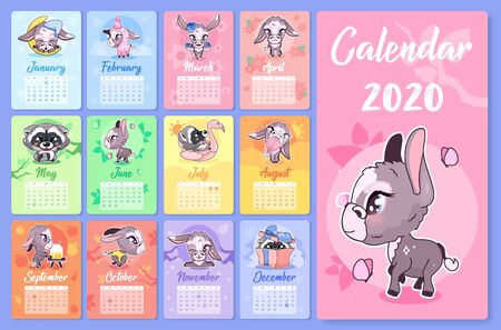 Cute animals 2020 calendar design template with cartoon kawaii characters. Wall poster, calender creative pages layout pack. Childish, girlish month planner mockup with doodle vector raccoons, donkeys Vettoriali