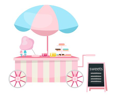 Street food cart flat vector illustration. Sweets and candies trolley. Outdoor confectionery cartoon concept isolated on white. Summer festival, carnival pink market stall with confections and pastry Stock Illustratie