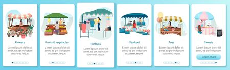Summer fair onboarding mobile app screen template. Outdoor street market stalls. Flowers, seafood, sweets trade tents. Walkthrough website with flat characters. UX, UI smartphone cartoon interface