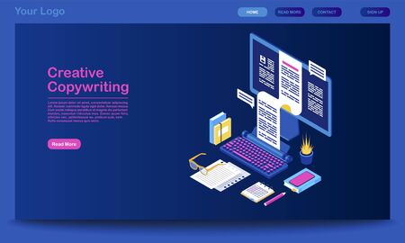Creative copywriting landing page vector template. Content writing website interface idea with flat illustrations. Digital marketing tool, blogging homepage layout. Web banner, webpage cartoon concept