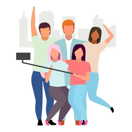 Friends taking selfie flat vector illustration. People group making photo with phone and monopod cartoon characters. Best friends forever. Friendship concept. Girls and guys spending time together