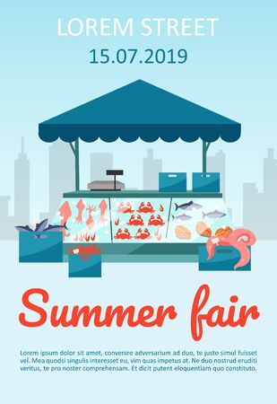 Summer food fair brochure template. Seafood market stall with fresh fish flyer, booklet, leaflet concept with flat illustrations. Vector page layout for magazine. advertising invitation with text