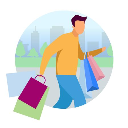 Man doing shopping flat concept vector icon. Guy hurry up with purchases bags sticker, clipart. Shopaholic, customer, buyer cartoon character. Isolated illustration on white background