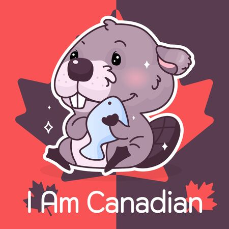 Cute beaver Canada symbol kawaii character social media post mockup. I am canadian typography. Poster, card template with mascot and maple leaves. Social media content, print design layout