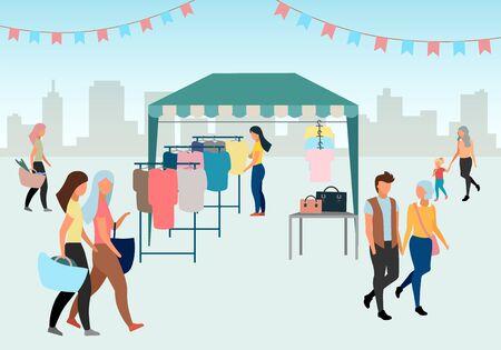 Mujer comprando ropa en la ilustración de vector plano del mercado callejero. Carpa comercial, toldo de feria. Comprador en tienda de ropa local al aire libre, tienda. La gente camina por la feria de verano. Carpa de mercado con ropa de segunda mano
