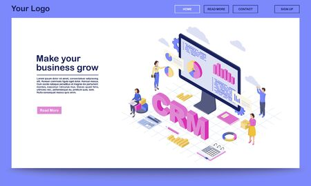 CRM for business growth isometric landing page vector template. Client data analysis, marketing statistics. Customer management automation website interface. CRM software 3d concept  イラスト・ベクター素材
