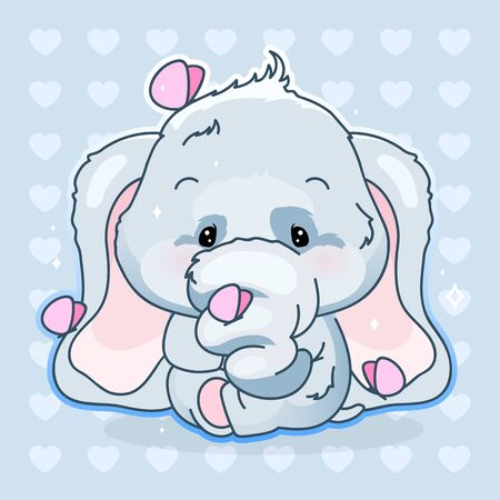Cute elephant kawaii cartoon vector character. Adorable and funny animal with butterflies isolated sticker, patch, kids print. Anime baby boy elephant emoji on blue background Stockfoto - 129339621