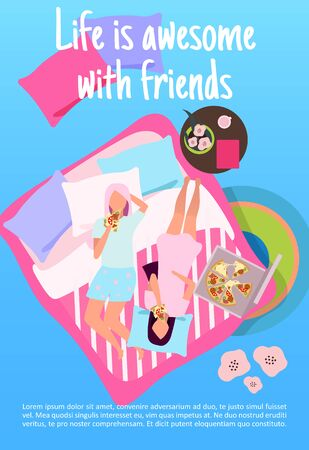 Sleepover party brochure template. Life with awesome with friends lettering. Girlfriends eat pizza. Girls night. Flyer, booklet, leaflet concept with flat illustration. Vector page layout for magazine  イラスト・ベクター素材