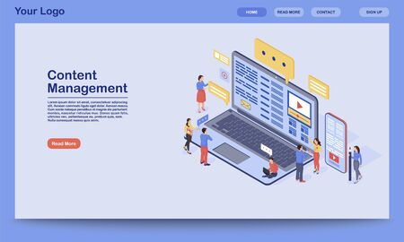 Content management landing page vector template. Digital inbound marketing website interface idea with flat illustration. SMM, media advertising homepage layout. Web banner, webpage cartoon concept