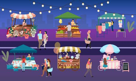 Night fair flat vector illustration. Outdoor street market stalls, summer trade tents with sellers and buyers. Flowers, farmers food and products, clothes city kiosks. People walk local urban shops Stock Illustratie