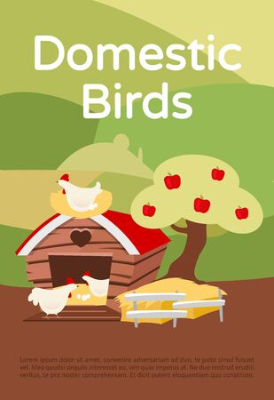 Domestic birds brochure template. Poultry farming. Flyer, booklet, leaflet concept with flat illustrations. Chicken farm, hennery. Vector page layout for magazine. Advertising invitation with text