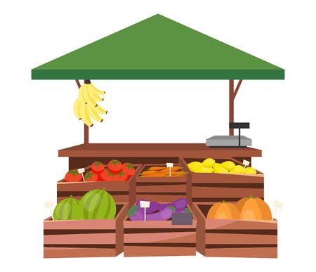 Fruits and vegetables market stall flat illustration. Farm products, eco and organic food trade tent, counter with wooden crates. Fair, summer market stand. Local grocery outdoor street shop, kiosk