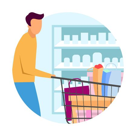 Buyer at supermarket flat concept icon. Man doing purchases at grocery store sticker. Customer with shopping cart buying products, goods at mall. Isolated cartoon illustration on white background Illustration