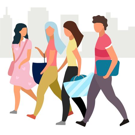 Friends walking together flat vector illustration. Girls and guy at city street cartoon characters. Students, tourists going and talking. Friendship concept. Group of people spending time, meeting