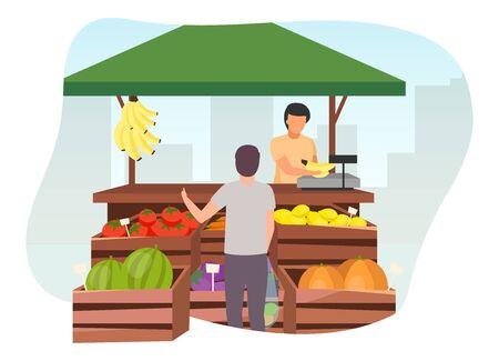 Obst- und Gemüsemarktstand mit flacher Illustration des Verkäufers. Mann kauft landwirtschaftliche Produkte, Öko- und Bio-Lebensmittel im Handelszelt mit Holzkisten. Sommermarktstand, Lebensmittelgeschäft im Freien