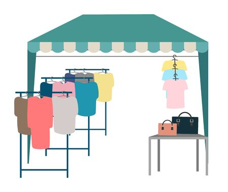 Trade tent with clothes flat vector illustration. Street market, fair awning. Outdoor local clothing store, shop cartoon concept isolated on white background. Market tent with second hand clothes racks