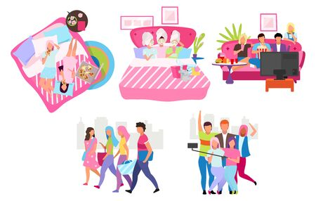 Friends group flat vector illustrations set. Young people spending time, meeting together cartoon characters. Male and female friendship. Students, girls and guys taking selfie, walking, eating pizza