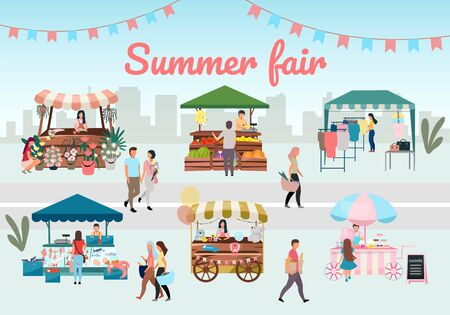 Summer fair flat vector illustration. Outdoor street market stalls, trade tents with with advertising lettering. Flowers, farmers food and products, clothes city kiosks and buyers. Local urban shops