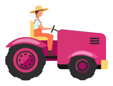 Agricultural machinery flat vector illustration. Farm worker driving agriculture mini tractor cartoon character. Harvesting and cultivation vehicle. Farming equipment. Farmer, tractor driver