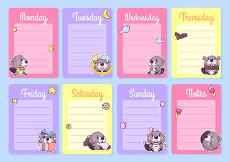 Cute baby beaver weekly planner vector template with kawaii cartoon character. Notepad, diary pages design layouts with copyspace for daily notes and lists. Girlish personal organizer vector mockup Иллюстрация