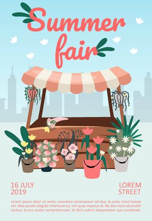 Summer fair brochure template. Street market, funfair stall, trade tent flyer, booklet, leaflet concept with flat illustrations. Vector page layout for magazine. advertising invitation with text space