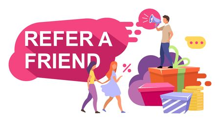 Referral marketing flat illustration. Referral rewards, bonuses. Customer attraction strategy, loyalty programs. Influencer marketing, word of mouth cartoon concept. Referrer with clients characters