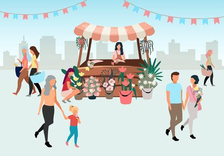 Blumenmarktstand mit flacher Illustration des Verkäufers. Straßenhändler vor Ort, der Blumensträuße verkauft. Floristen-Cartoon-Figur. Einkaufsstand, hölzerner Einkaufstresen. Kunden, Leute gehen Sommermesse Vektorgrafik