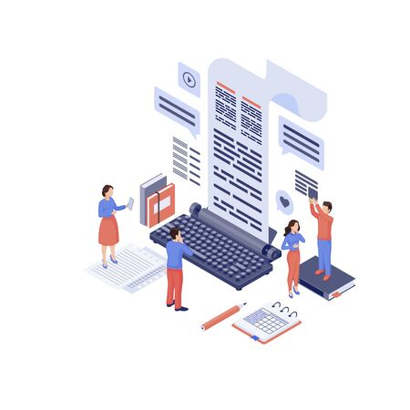 Content marketing isometric vector illustration. Marketers, copywriter create advertising SEO texts, engaging content isolated 3d concept on white. Inbound marketing. SMM, media audience attraction
