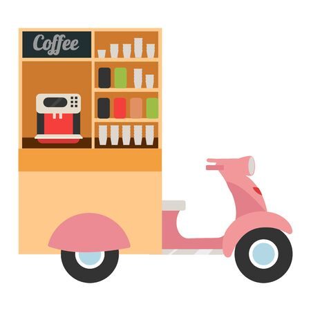 Coffee food truck flat vector illustration. Moped based takeaway coffee point. Movable city cafe. Street food vehicle. Mobile scooter hot drinks bar isolated on white background Illustration