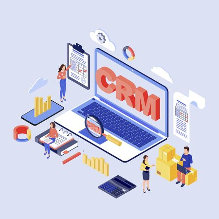 CRM software isometric vector illustration. Customer, client relationship management system. Company kpi, erp optimization 3d concept. Marketing automation tool. Corporate working process organization