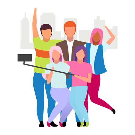 Friends spending time together, taking selfie flat vector illustration. Group of people making photo cartoon characters. Best friends, friendship forever concept. Guys and girls company pastime  イラスト・ベクター素材