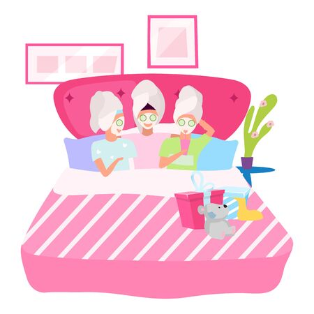Girls night flat vector illustration. Girlfriends applying facial masks cartoon characters. Female friends in bed, sleeping together. Slumber, sleepover birthday party concept. Spa day at home