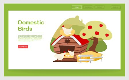 Domestic birds landing page template. Poultry farming  website interface idea with flat illustrations. Chicken farm, hennery homepage layout. Agricultural animals. Web banner, webpage cartoon concept