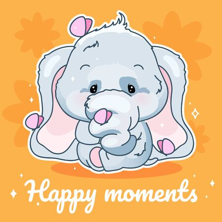 Cute elephant kawaii character social media post mockup. Happy moments lettering. Positive poster, card template with adorable animal. Social media content layout. Print, kids book illustration
