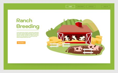 Ranch breeding landing page vector template. Livestock & cattle farming website interface idea with flat illustrations. Dairy farm, meat production homepage layout. Web banner, webpage cartoon concept