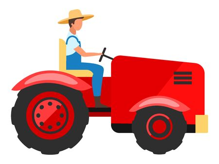Tractor driver flat character. Farm worker driving agricultural machinery cartoon illustration. Farming and agriculture industry. Harvesting, planting equipment, machine isolated on white background