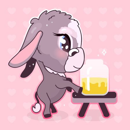 Cute donkey kawaii cartoon vector character. Adorable and funny animal tasting honey in jar isolated sticker, patch, girlish illustration. Anime baby girl mule, burro emoji on pink background