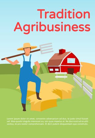 Traditional agribusiness brochure template. Hay harvesting. Flyer, booklet, leaflet concept with flat illustrations. Vector page layout for magazine. Farming advertising invitation with text space