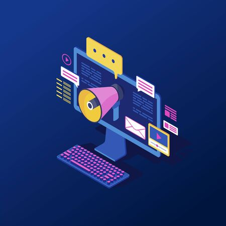 Digital, inbound marketing isometric vector illustration. Media advertising strategy, online pr campaign, promotion. Ads, content marketing 3d concept. Computer with megaphone isolated clipart